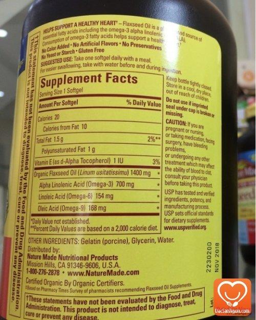 Nature Made Flaxseed Oil - 1400 mg. Hàng nhập chính hãng USA
