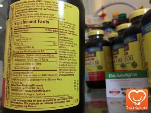Dầu hạt lanh Nature Made Flaxseed oil 1400 mg hộp 300 viên - Omega 3 6 9 của Mỹ
